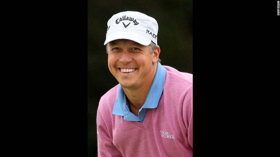 Fredrik Jacobson smiles from the green on Sunday.