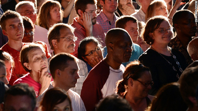 Supporters listen as President Barack Obama speaks at a campaign event last month in Des Moines, Iowa.