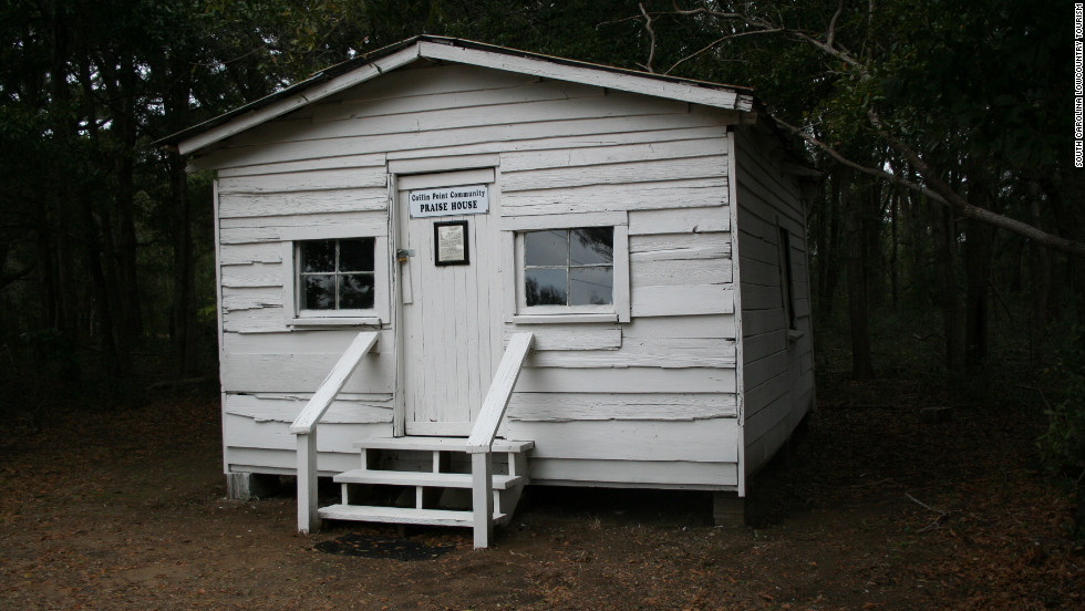 This is one of the praise houses still standing on St. Helena Island, where African-Americans used to gather in small numbers to worship and settle disputes. St. Helena Island, near Beaufort, South Carolina, is at the center of the lowcountry's Gullah culture.