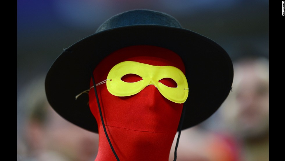 A Spanish fan waits for the start of the match between Croatiia and Spain.