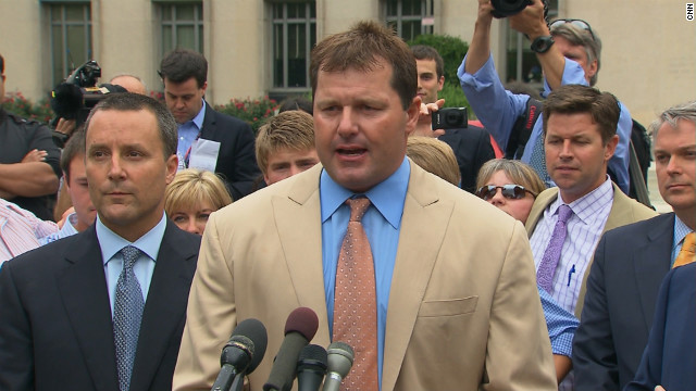 Roger Clemens speaks after being found not guilty on Monday, June 18.