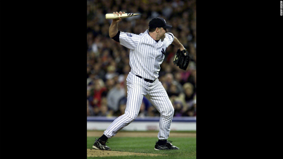 While pitching for the New York Yankees, Clemens throws a piece of a shattered bat at Mike Piazza of the New York Mets during game two of the 2000 World Series. The incident led to a dugout-emptying confrontation between the two teams.