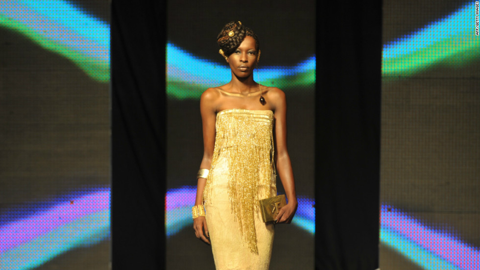 A model takes to the catwalk in an outfit by Lebanese-Ivorian designer Elien Kuame.