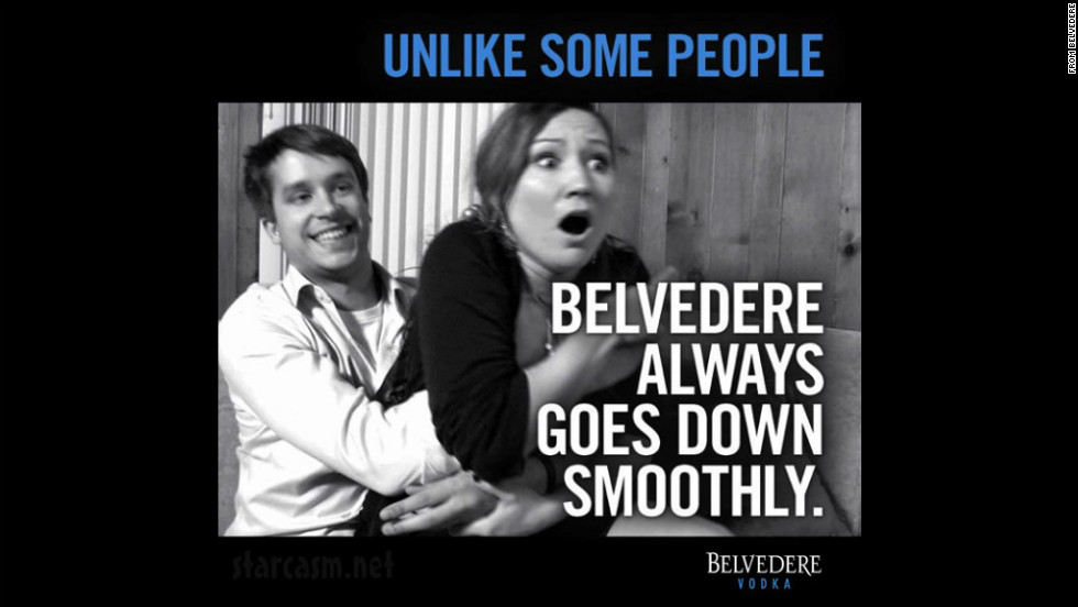 "In March 2012, Belvedere Vodka posted a controversial ad on its Facebook page that many felt implied rape. Belvedere's senior vice president of marketing <a href=""http://www.cnn.com/2012/03/25/showbiz/vodka-ad-controversy/"">posted an apology,</a> saying the ad also offended ""the people who work here at Belvedere."""
