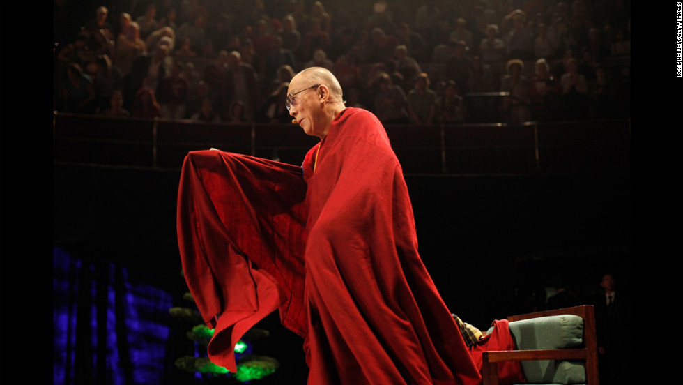 His Holiness the Dalai Lama, 76, appears Tuesday at Royal Albert Hall in London during a tour of the United Kingdom.