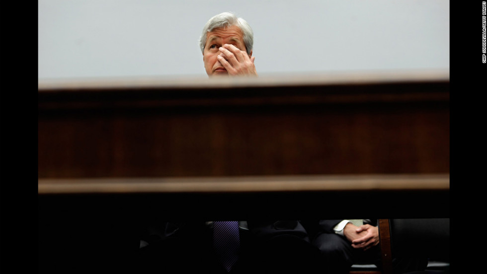 JP Morgan Chase & Co. Chairman and CEO Jamie Dimon testifies Tuesday before the House Financial Services Committee on Capitol Hill.