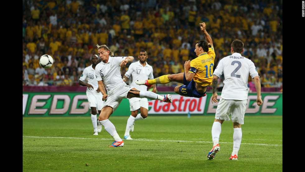 Ziatan Ibrahimovic of Sweden scores the opening goal during the group D match against France on Tuesday, June 19.