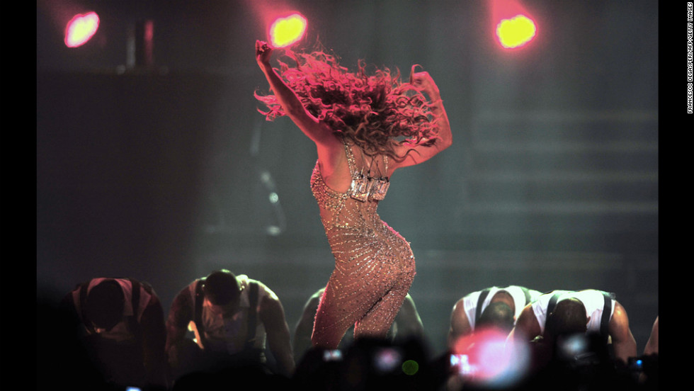 "Jennifer Lopez performs during a concert Tuesday in Santiago, Chile, as part of her ""Dance Again"" world tour."