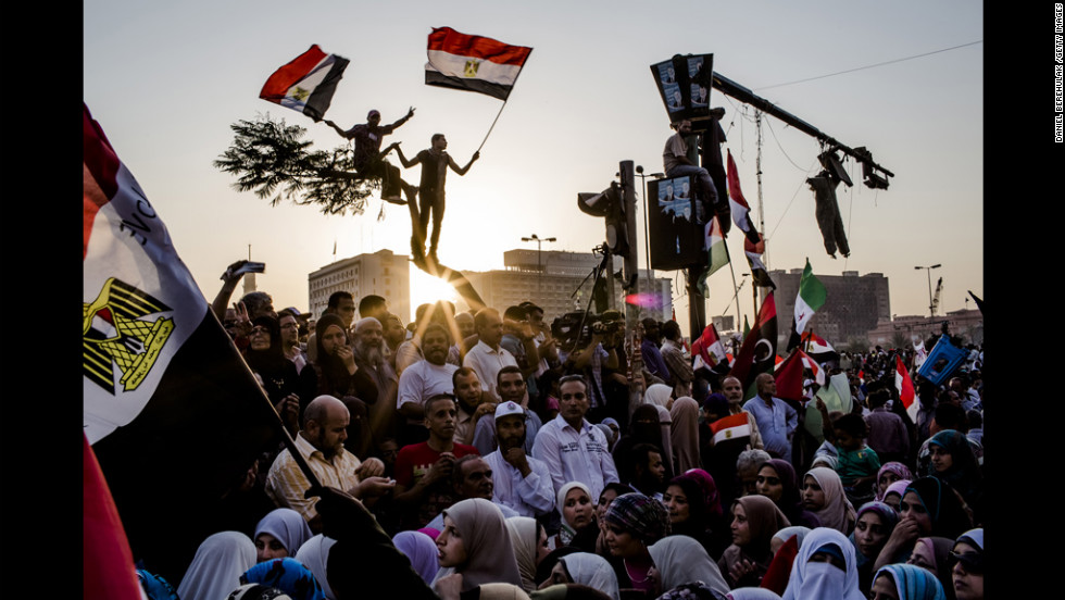 Supporters of the Muslim Brotherhood rally at Tahrir Square in Cairo, Egypt, where politics are in disarray after the ruling military council disbanded parliament.