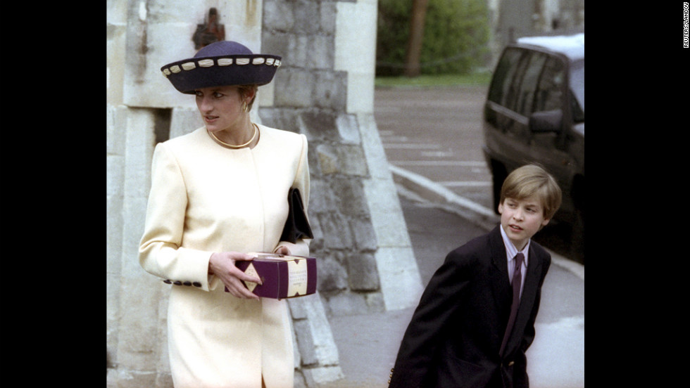 Princess Diana and Prince William wait for Prince Harry after attending the annual Easter Sunday church service in 1992 at St. Georges Chapel inside Windsor Castle.