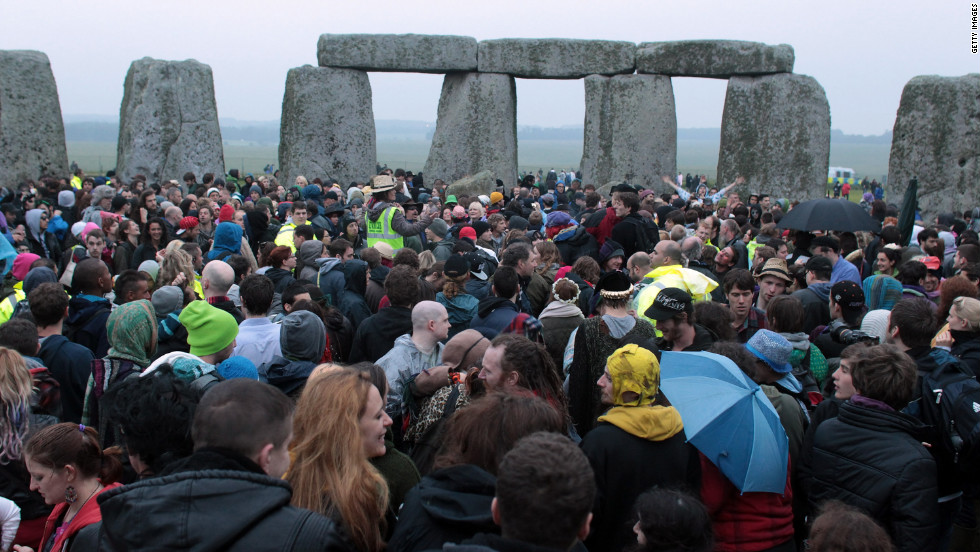 Heavy rains dampened the area, but more than 14,000 people flocked to the ancient site to celebrate.