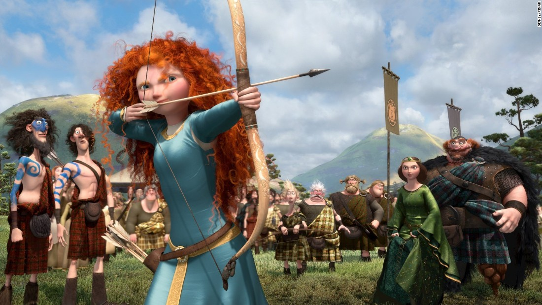 "Merida, a Scottish princess, sets out to break her family's curse in Disney-Pixar's 2012 film ""Brave."" She's a skilled archer, a good swordfighter and a pretty good horsewoman, too."
