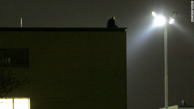 A convicted child molester on the roof of a prison in Dresden, Germany.
