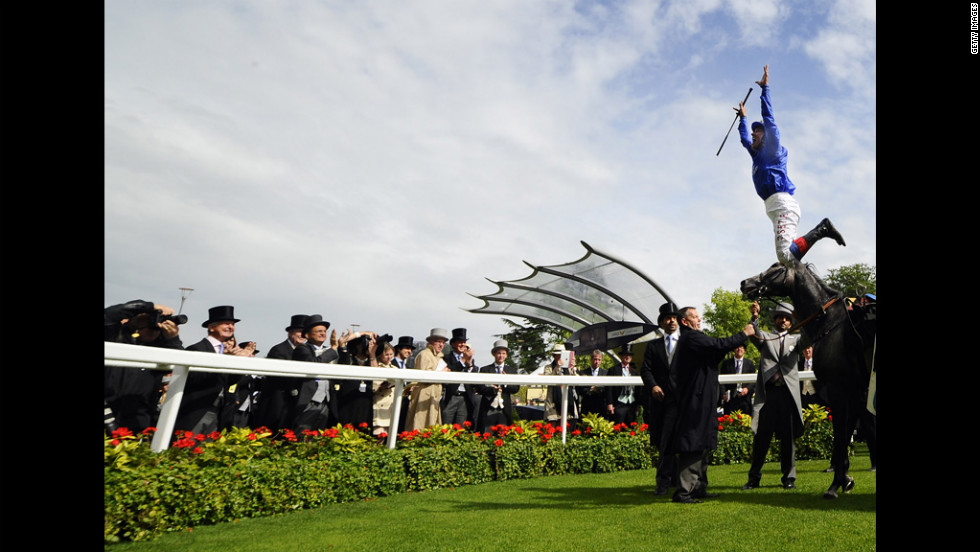 Frankie Dettori celebrates riding Colour Vision to win The Gold Cup during Ladies Day at Royal Ascot.