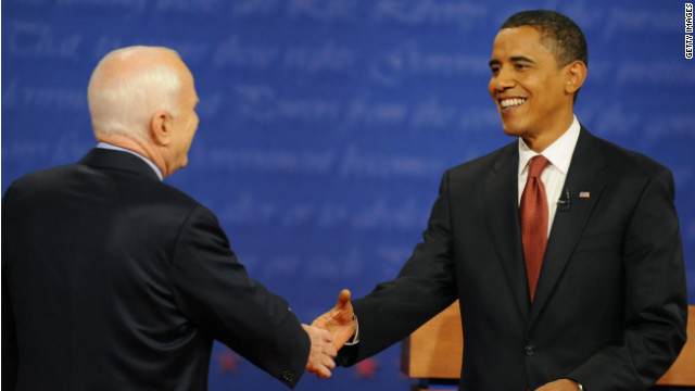 Then-Sen. Barack Obama shakes Sen. John McCain's hand in the first presidential debate of 2008.