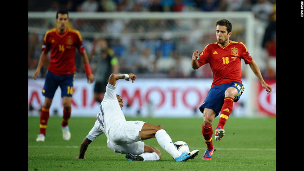 Jordi Alba of Spain challenges Yann M'Vila of France during a Euro 2012 quarterfinal match Saturday.