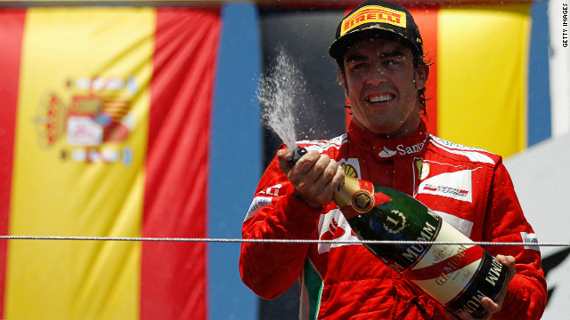 Fernando Alonso celebrates his famous victory in the European Grand Prix in Valencia in front of his Spanish fans.