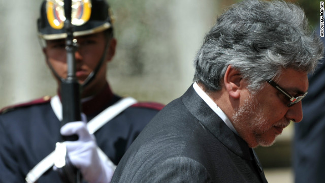 File picture of Paraguay's President Fernando Lugo (R) arriving for the handover ceremony of the General Secretary of the South American Nations Union (UNASUR), at Nari�o presidential palace in Bogota, Colombia, on June 11, 2012.