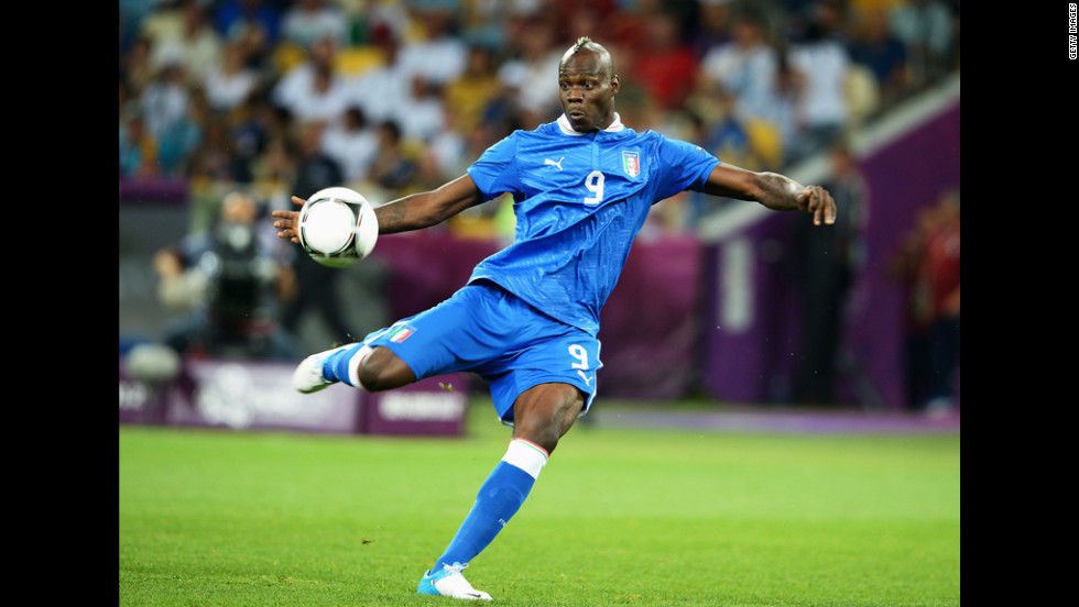 Italy's Mario Balotelli kicks the ball during the quarterfinal match against England.