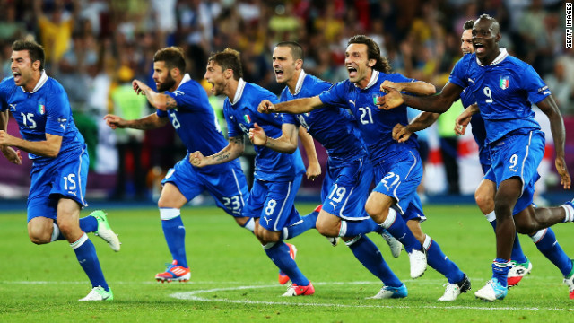 Italy's players celebrate their penalty shootout victory over England in their Euro 2012 quarterfinal in Kiev.