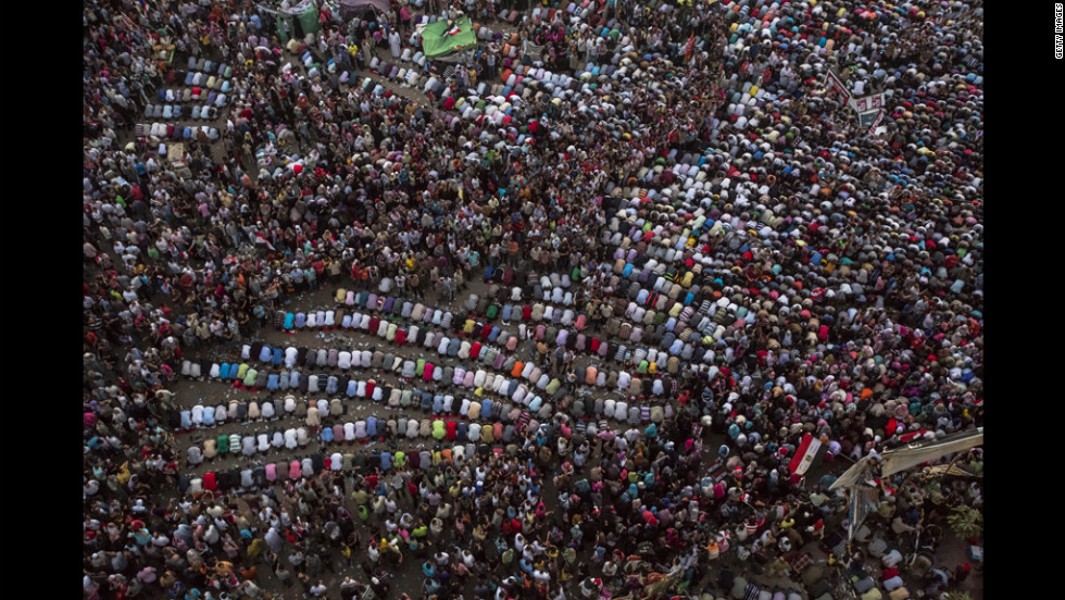 Egyptians pray in Cairo's Tahrir Square during celebrations after Mohamed Morsi was declared the nation's first democratically elected president on Sunday.