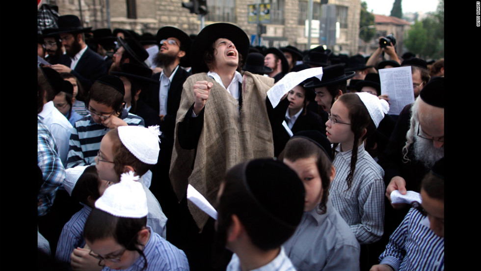 Ultra-Orthodox Jewish boys protest against Tal Law replacement on Monday in Jerusalem. The law, which exempts ultra-Orthodox yeshiva students from mandatory military service, was declared unconstitutional by the High Court in February and is due to expire in August.