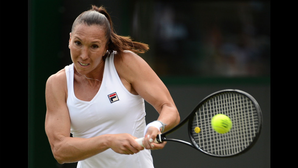 Jankovic plays a double-handed backhand shot during her match against Clijsters.
