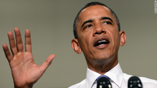 President Barack Obama speaks during a campaign event at a school in Durham, New Hampshire, on Monday.