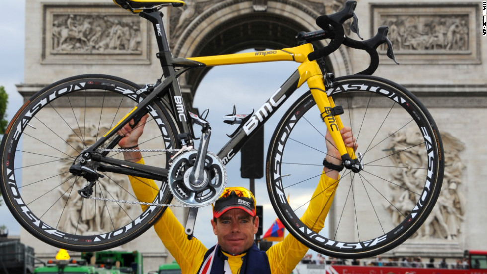 BMC rider Evans became the first  Australian to win the Tour de France last year and celebrated in front of the Arc de Triomphe.