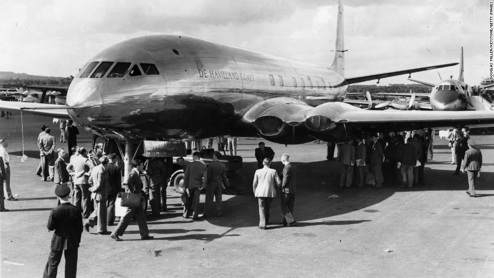 A de Havilland Comet, the world's first jet airliner, is displayed at the Farnborough's second major air show in 1949.