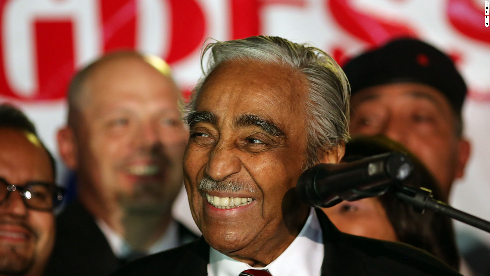 Rangel thanks supporters after winning his primary challenge on Tuesday night. Rangel got about 45% of the vote while his nearest challenger, state Senator Adriano Espaillat, got about 40%.
