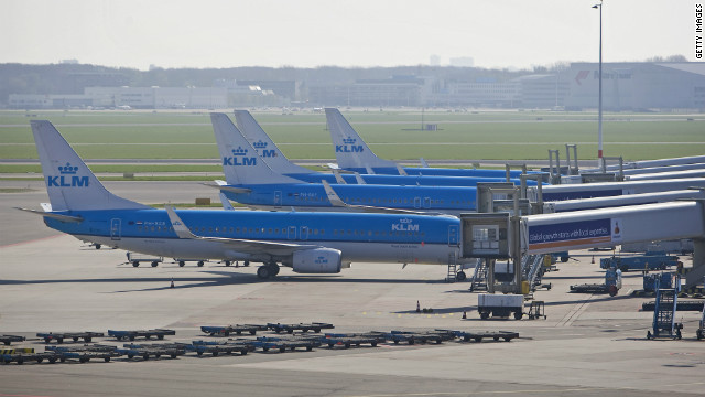 KLM airplanes are parked at Amsterdam's Schiphol airport on April 18, 2010 due to the volcanic eruption in Iceland.
