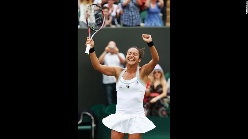 Great Britain's Heather Watson celebrates match point during her second-round match against American Jamie Lee Hampton on Wednesday.
