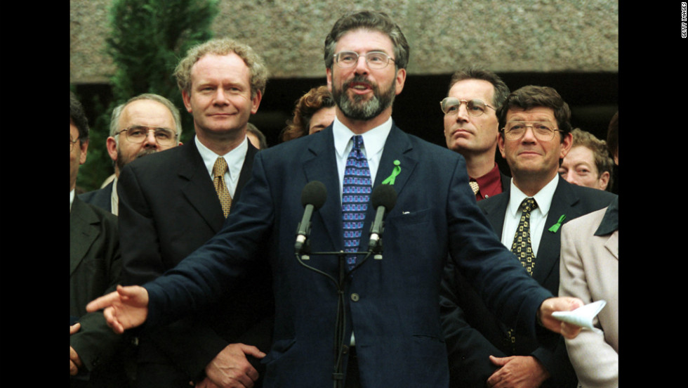 Sinn Fein leader Gerry Adams voices his approval in 1999 of the Good Friday Agreement, a peace treaty and power-sharing agreement between the Irish and British signed a year ealier.