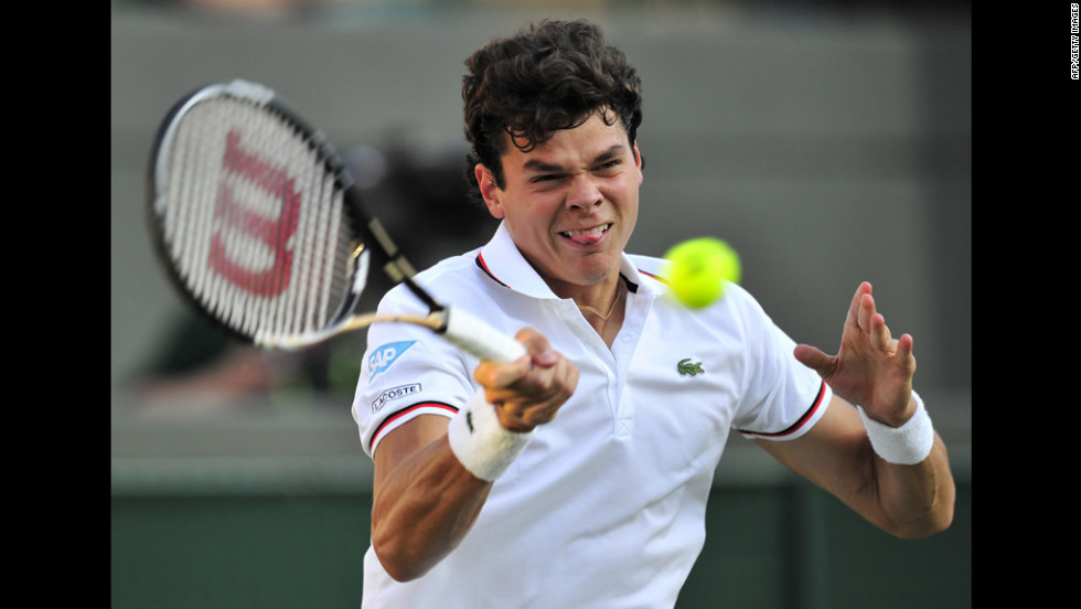 Canada's Milos Raonic plays a forehand shot during his second round men's singles match against U.S. player Sam Querrey June 28.