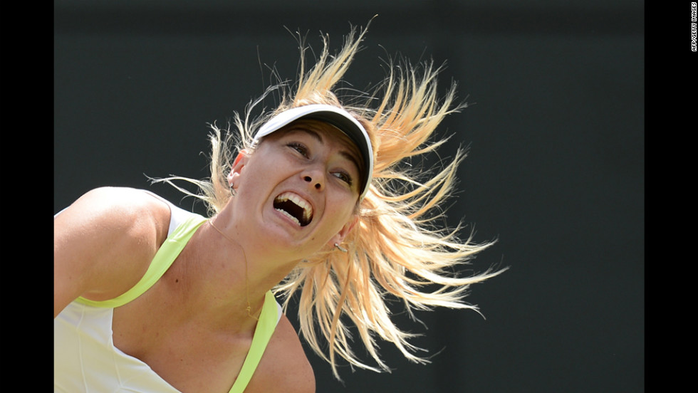 Russia's Maria Sharapova serves against Taiwan's Su-Wei Hsieh in a third-round women's singles match Friday.