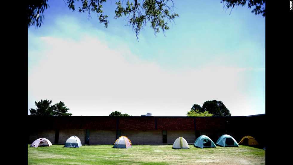 A camp for firefighters is set up at Holmes Middle School in Colorado Springs on Thursday, June 28. The Waldo Canyon Fire has scorched more than 16,700 acres.