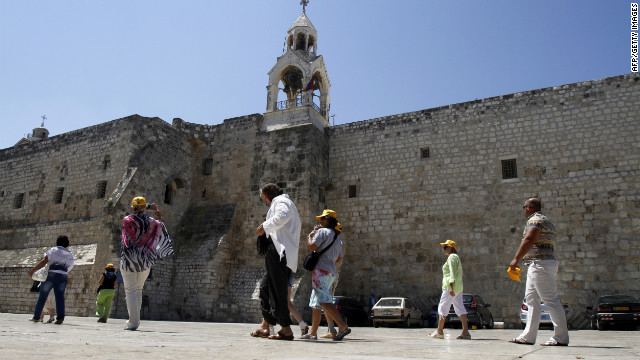 Christian pilgrims visit the Church of Nativity in the Palestinian city of Bethlehem on June 28, 2012.