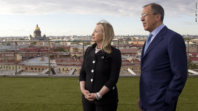 Secretary of State Hillary Clinton and Russian Foreign Minister Sergey Lavrov in St. Petersburg on the eve of talks on Syria.