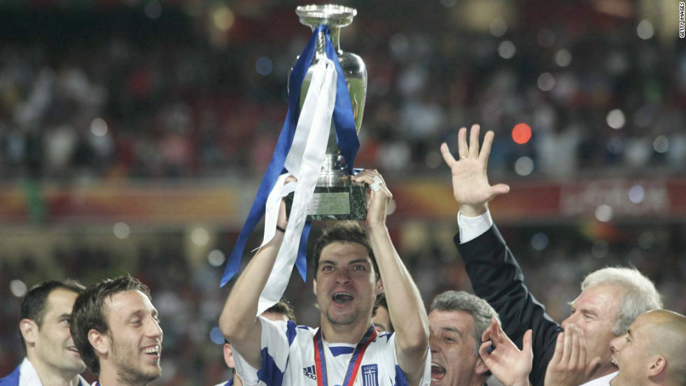 Ahead of Euro 2004 in Portugal, few thought Greece would get out of their group, let alone have any chance of lifting the Henri Delaunay trophy. After a shock win over the hosts in the opening match, victories over France in the quarterfinals and the much-fancied Czech Republic in the last four set up a rematch with Portugal in the final. Angelos Charisteas' first-half header gave Greece a stunning 1-0 win and their first major tournament win.