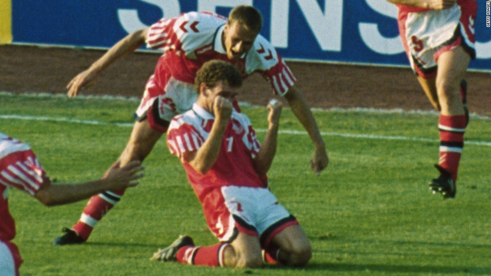 Denmark failed to even qualify for Euro '92 in Sweden and only received a place in the tournament when Yugoslavia were disqualified due to the conflict in the Balkans. The Danes made the most of their unexpected opportunity, progressing to the final where they beat Germany 2-0 thanks to goals from John Jensen (pictured) and Kim Vilfort.