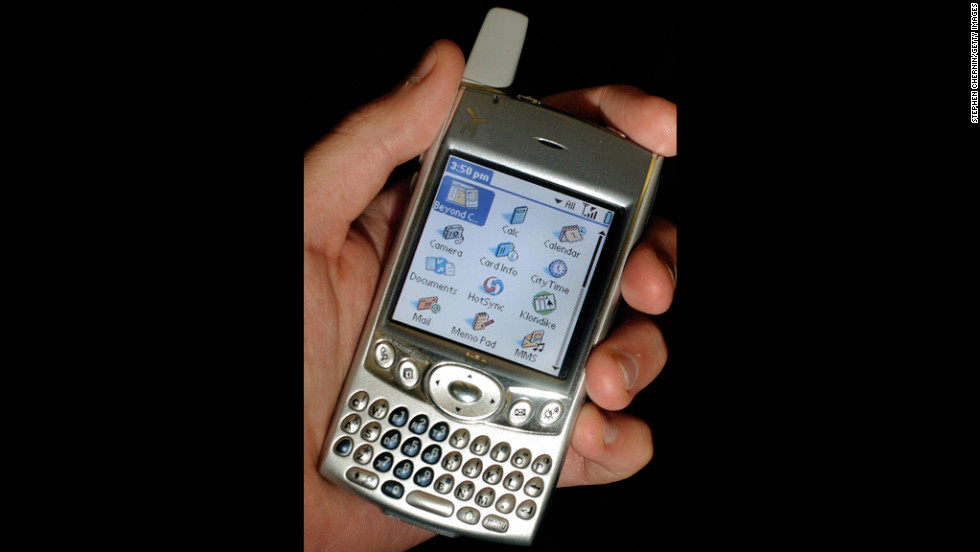 Cell phone manufacturers made great strides between 1997 and 2004. The Palm Treo 600 smartphone, pictured here in 2004, integrated telephone with e-mail and Internet-browsing capabilities.
