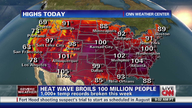 U.S. heat wave affecting 100 million