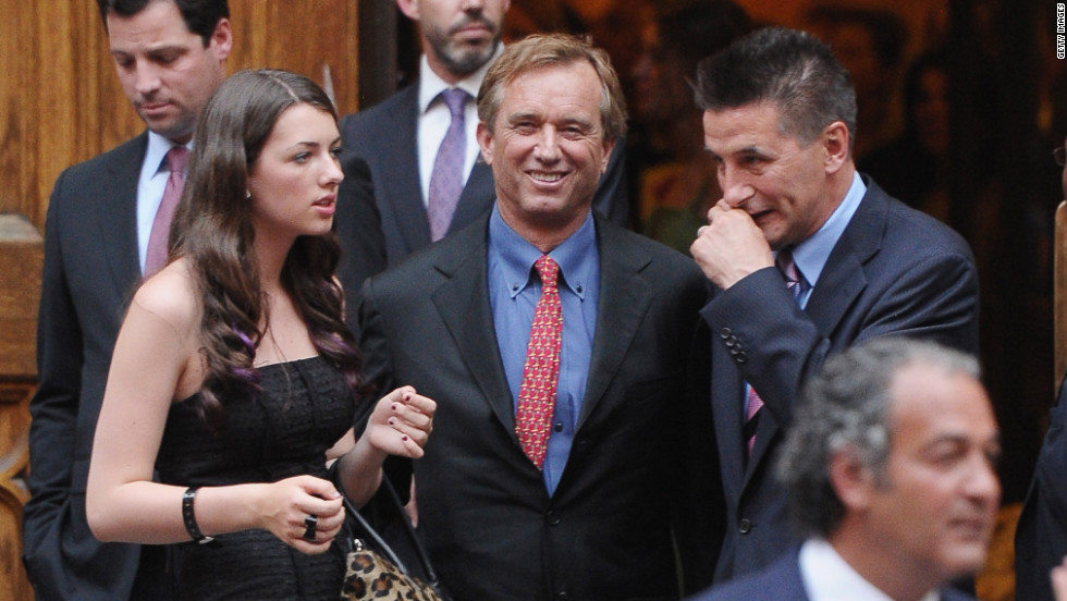 Robert Kennedy Jr., center, at the church with his daughter Kyra LeMoyne Kennedy, left, and actor Billy Baldwin, right.