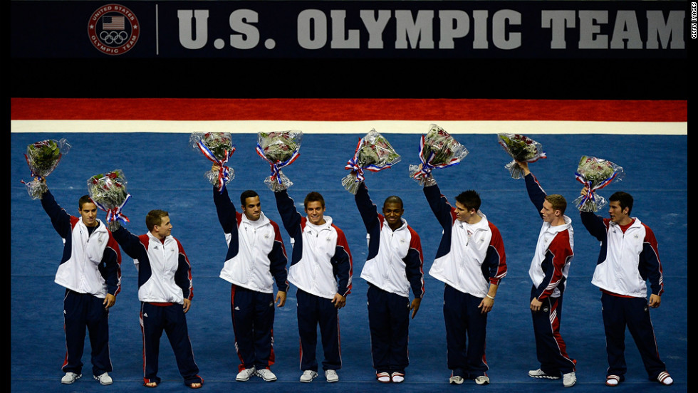 The U.S. men's gymnastics team -- from left, Jacob Dalton, Jonathan Horton, Danell Leyva, Sam Mikulak, John Orozco, Chris Brooks, Steven Legendre and Alexander Naddour -- is announced for the 2012 London Olympics.