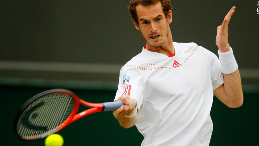Andy Murray of Great Britain returns a shot to Marin Cilic of Croatia on Monday.