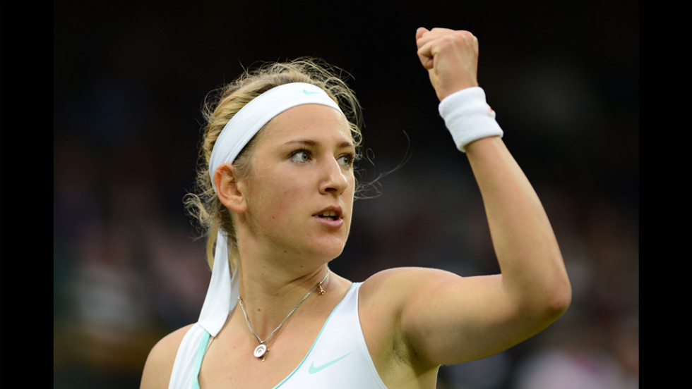 Belarus' Victoria Azarenka celebrates a break point during her fourth-round match against Serbia's Ana Ivanovic on Monday.