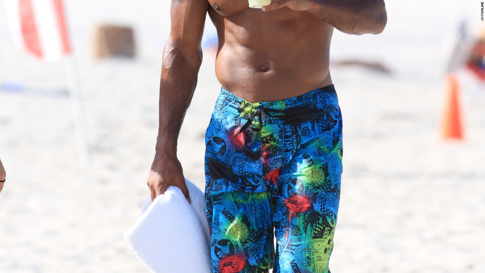 Shemar Moore spends time on the beach in Miami.