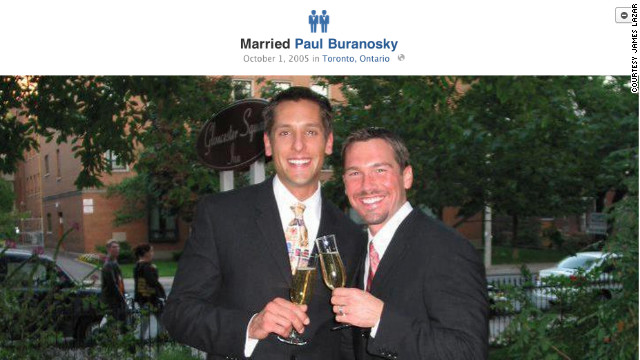 James Lazar, right, of Chicago, didn't update his Facebook page to include his marriage until the icons changed.