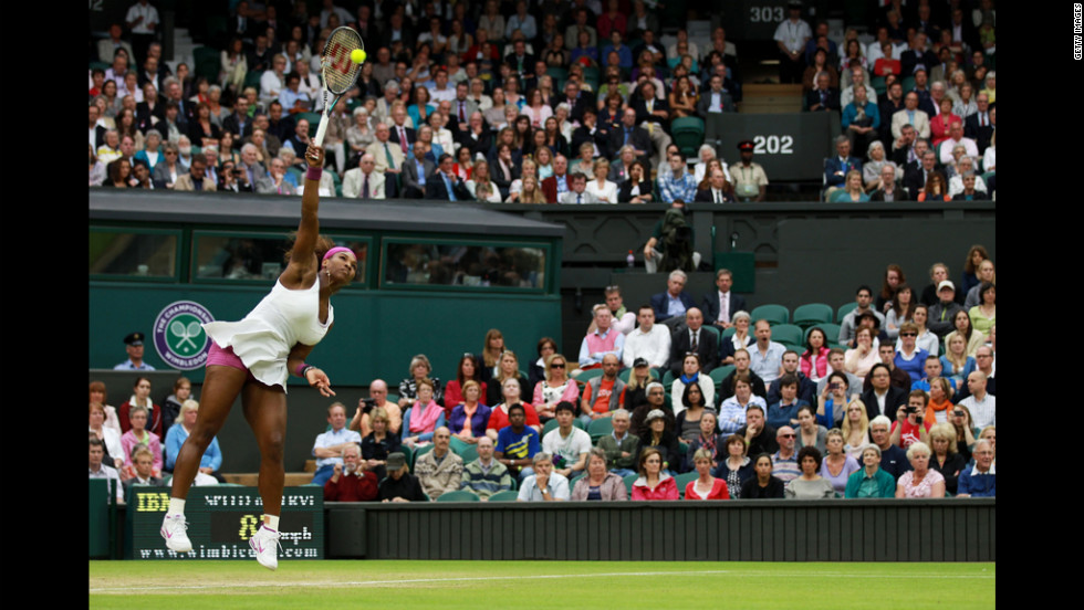Williams serves during her Ladies' Singles quarterfinal match against Kvitova.